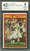 1972 topps #120 TERRY BRADSHAW pittsburgh steelers BGS BCCG 8