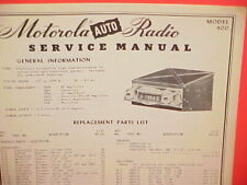 1950 MOTOROLA AUTO CAR AM RADIO FACTORY SERVICE SHOP REPAIR MANUAL MODEL 400