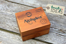 28 Stempel Handschrift ABC Alphabet Buchstaben Set in Holz Box