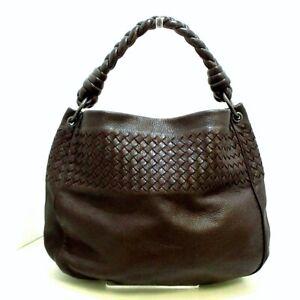 Auth BOTTEGA VENETA Intrecciato 174526 Dark Brown Leather Shoulder Bag