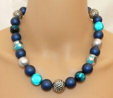 pompös Halskette Perlenkette Collier Perlenmix 14-16mm blau türkis silber  247c