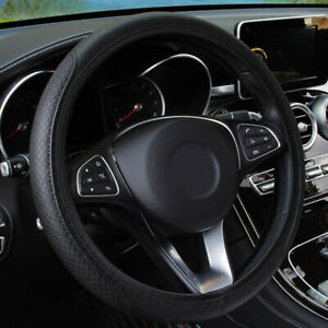 """Black PU Leather Car Steering Wheel Cover Protector Auto Accessories 15""""/38cm"""