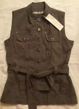 Ladies Intown khaki Safari style cotton gilet / sleeveless Jacket Size 40 / New