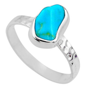 Liquation SALE 4.22cts Sleeping Beauty Turquoise Rough Ring Size 8 R65600