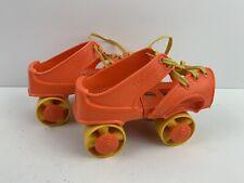 Vintage Zipees Gabriel Roller Skates Child  Plastic Over The Shoe Lace Up Orange