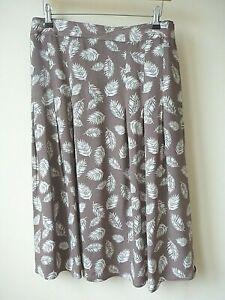 New Womens Mocha+White Leaf Print 100% Viscose Knee Length Skirt Plus Size 14-26