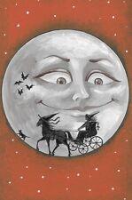 4X6 HALLOWEEN POSTCARD LE 4/100  RYTA VINTAGE STYLE ART WITCH BLACK CAT MOON