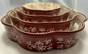 Temptations Floral Lace Cranberry Set of 4 Nesting Cake Pans  - Retired