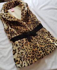 Girls Sleeveless Leopard Furry Jacket Vest Copper Key Size 5