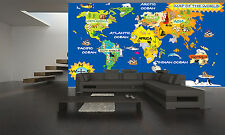 World Kids Map Wall Mural Photo Wallpaper GIANT DECOR Paper Poster Free Paste