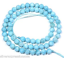 """Genuine Natural AAA Dominican Larimar 6mm Round Smooth Beads 15-3/4"""" long"""