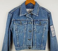 Rare SOVIET Denim Short Jacket Ladies Small with Patches Cult Gently Used