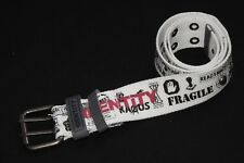 Fashionable Women Textille White Belt with Words Print and Silver Studs (S345)