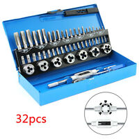 32PC TAP AND DIE SET METRIC WRENCH CUTS M3-M12 BOLTS HARD CASE ENGINEERS KIT HOT