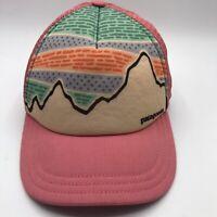 Patagonia Women's Pink Mountain Lines Foam Mesh SnapBack Trucker Hat Cap