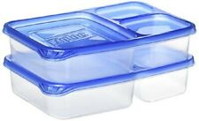 2-Pack 3-Compartment BPA Free On the Go Snack Food Storage Containers w/ Lids