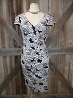 MODCLOTH XS Black/White Print Short Sleeve Fitted Cotton Blend Sheath Dress W