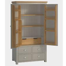 Padstow Grey Large Larder Unit / Solid Wood Painted Kitchen Freestanding Larder
