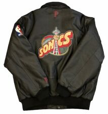 Vintage NBA Pro Player Seattle Supersonics Black Leather Quilted Jacket Size XL