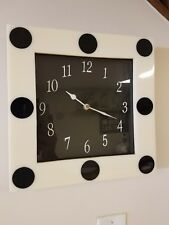 Square shaped domino themed wall clock beige and black dot with black face