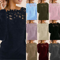 Womens Lace Patchwork Jumper Ladies Long Sleeve Sweater Pullover Tops Plus Size