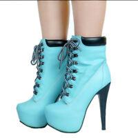 Blau Damen Lackleder Stiefeletten High Heel Plateauschuhe Pumps Damenschuhe