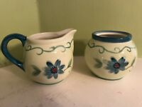 "Lot of 2 Pfaltzgraff ceramic Verona 3.5"" multi color floral sugar & creamer"