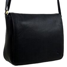NEUE Damen Leder Classic Cross Body Handtasche Tasche von GiGi schwarz FlapOver