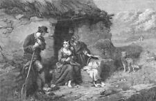 FAMILIES. The cabin door, antique print, 1862