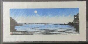 Coast Sea Ocean Sunset Landscape Japanese woodcut woodblock print washi signed
