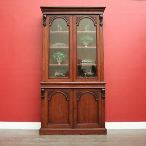 Antique English Bookcases English Mahogany c1880 2 Height Bookcase China Cabinet