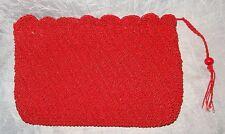 "Vintage CADAZ Japan Red Woven Clutch Bag Purse 11"" x 7"""