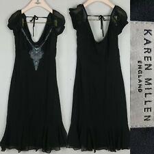 Karen Millen Black Embroidered Lace Dance Party Aline Dress 100% Silk 10