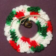 Vintage Crochet Christmas Wreath Holiday Pin Brooch Hand Made Green White Red