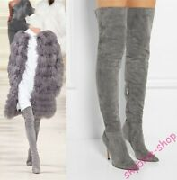 Womens Pointy Toe Stiletto High Heels Stretchy Suede Over Knee High Thigh Boots