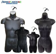 SET 4 Male Female Child Toddler Mannequin Form, Torso Body Display Shirt - BLACK