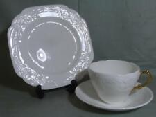 Coalport Sevres Embossed White Bone China Trio Tea Cup Saucer & Side Plate