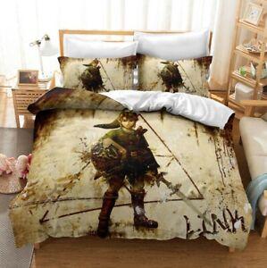 3D The Legend of Zelda Duvet Quilt Cover Bedding Comforter Cover Pillowcase Boys