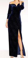 £50 EX QUIZ Navy Velvet Glitter Bardot Maxi Split Leg Party Dress Sizes 8-18