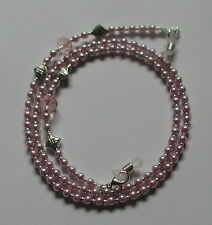 Classic Pink Glass Pearl Beads Elegant Glasses Chain Spectacles Holder Necklace