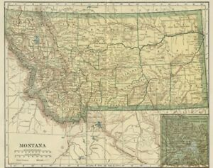 MONTANA Map: Genuine 1907 (dated) County Town Railroads Topography Reservations