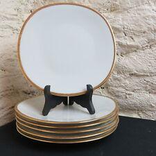 RAYNAUD LIMOGES / 6 assiettes plates en porcelaine décor blanc et or