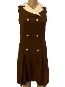 Vintage 60's MOD Go Go Mini Brown Dress Mary Quant Style XS S