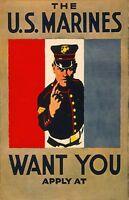 """Vintage USMC Recruiting  Poster """" The Marines Want you"""""""