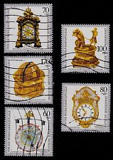 GERMANY  SCOTT# B734-B738 USED  ANTIQUE CLOCKS
