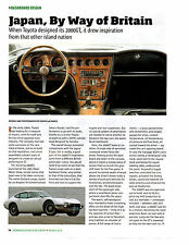 1965 TOYOTA 2000 GT  ~  GREAT DASHBOARD DESIGN ARTICLE / AD