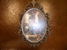 Vintage Floral Prints in Antique Brass Oval Frame Made in Italy New
