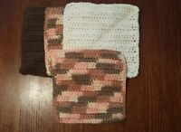 Lot of 4 New Brown/Peach/Cream Handmade-Crocheted 100% Cotton Dish/Wash Cloths