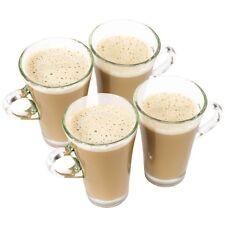 Set of 4 Coffee Mugs Ravenhead 250ml Clear Glass Hot Drinks Cups Latte Glasses