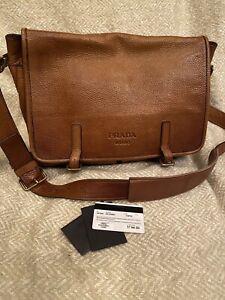 Prada Messenger Bag Whiskey Deerskin LEATHER w/Original Cards